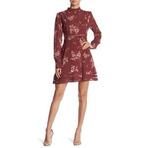 ASTR the Label Kirsten A-Line Dress Maroon Fall S
